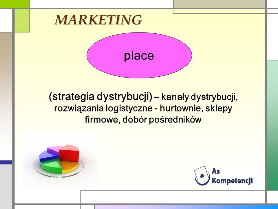 MARKETING place (strategia dystrybucji) – kanały dystrybucji, rozwiązania logistyczne - hurtownie, sklepy firmowe, dobór pośredników