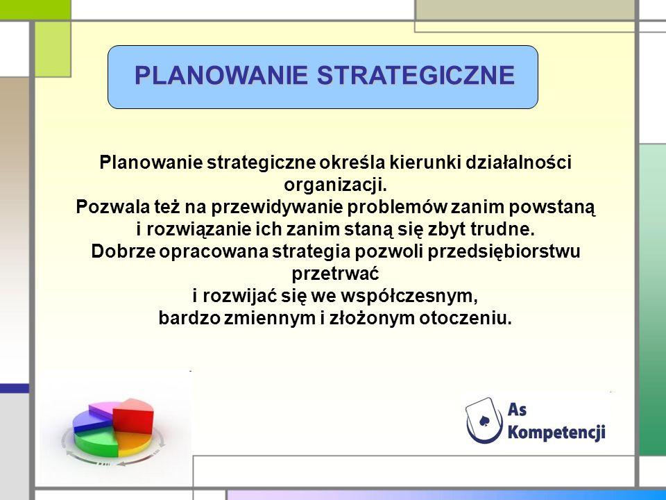 PLANOWANIE STRATEGICZNE Planowanie strategiczne określa kierunki działalności organizacji. Pozwala też na przewidywanie problemów zanim powstaną i roz