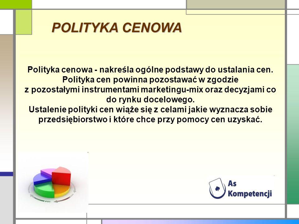 POLITYKA CENOWA Polityka cenowa - nakreśla ogólne podstawy do ustalania cen. Polityka cen powinna pozostawać w zgodzie z pozostałymi instrumentami mar