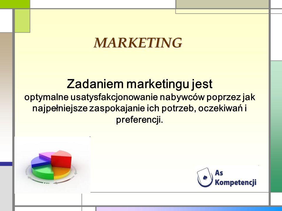 MARKETING Zadaniem marketingu jest optymalne usatysfakcjonowanie nabywców poprzez jak najpełniejsze zaspokajanie ich potrzeb, oczekiwań i preferencji.