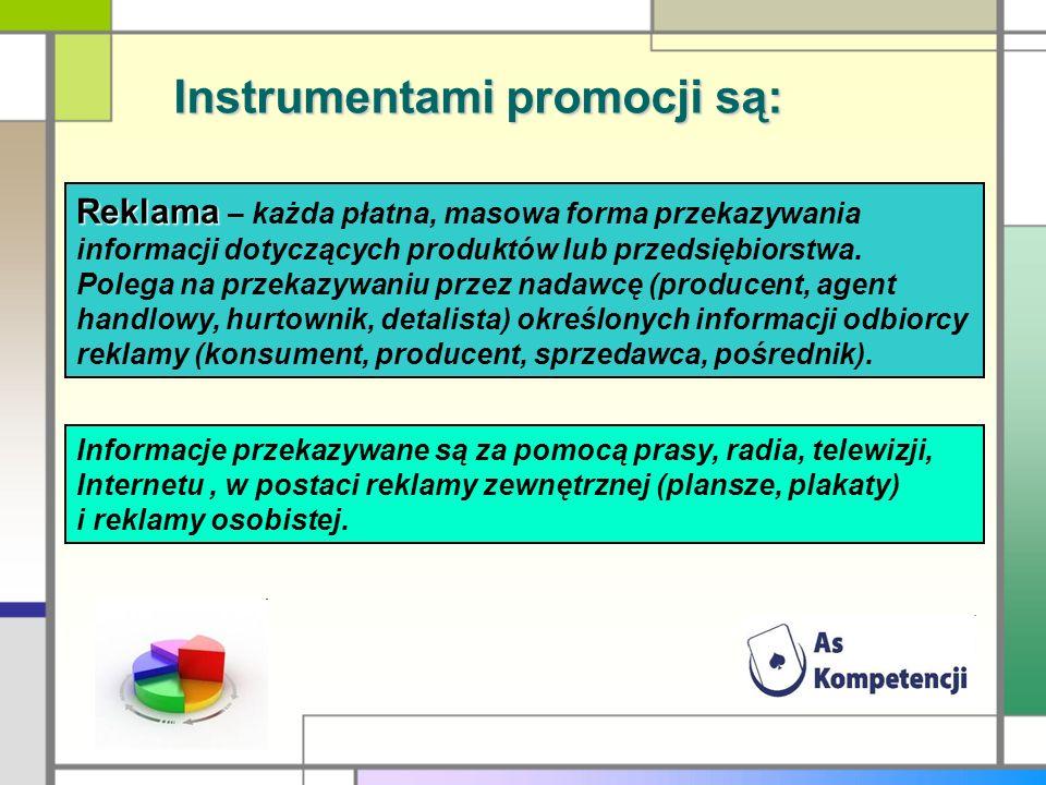 Instrumentami promocji są: Reklama Reklama – każda płatna, masowa forma przekazywania informacji dotyczących produktów lub przedsiębiorstwa. Polega na