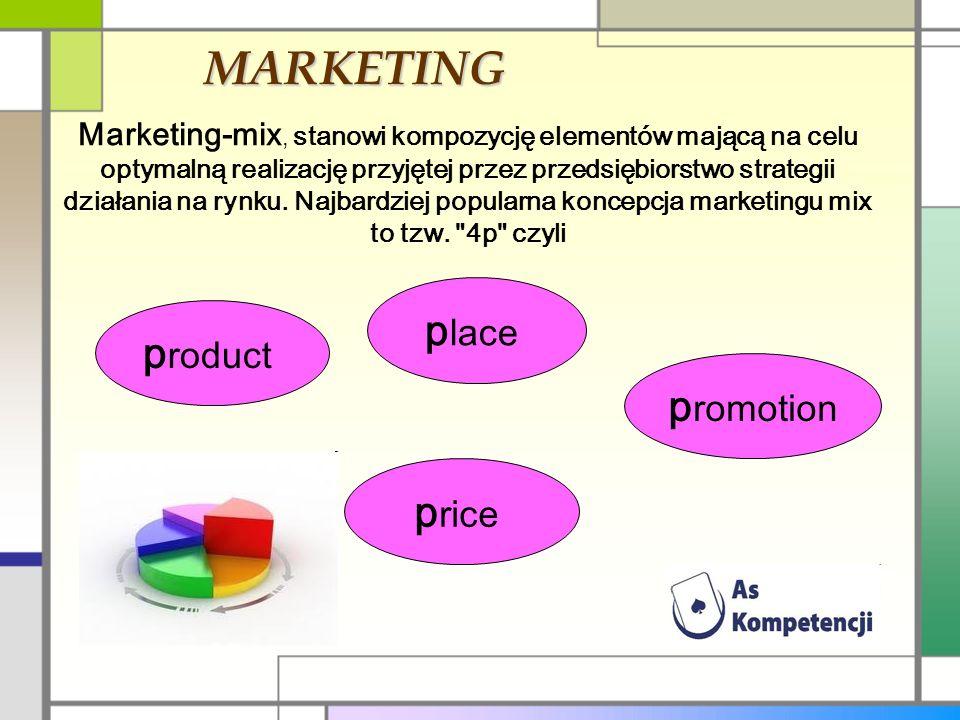 MARKETING Marketing-mix, stanowi kompozycję elementów mającą na celu optymalną realizację przyjętej przez przedsiębiorstwo strategii działania na rynk