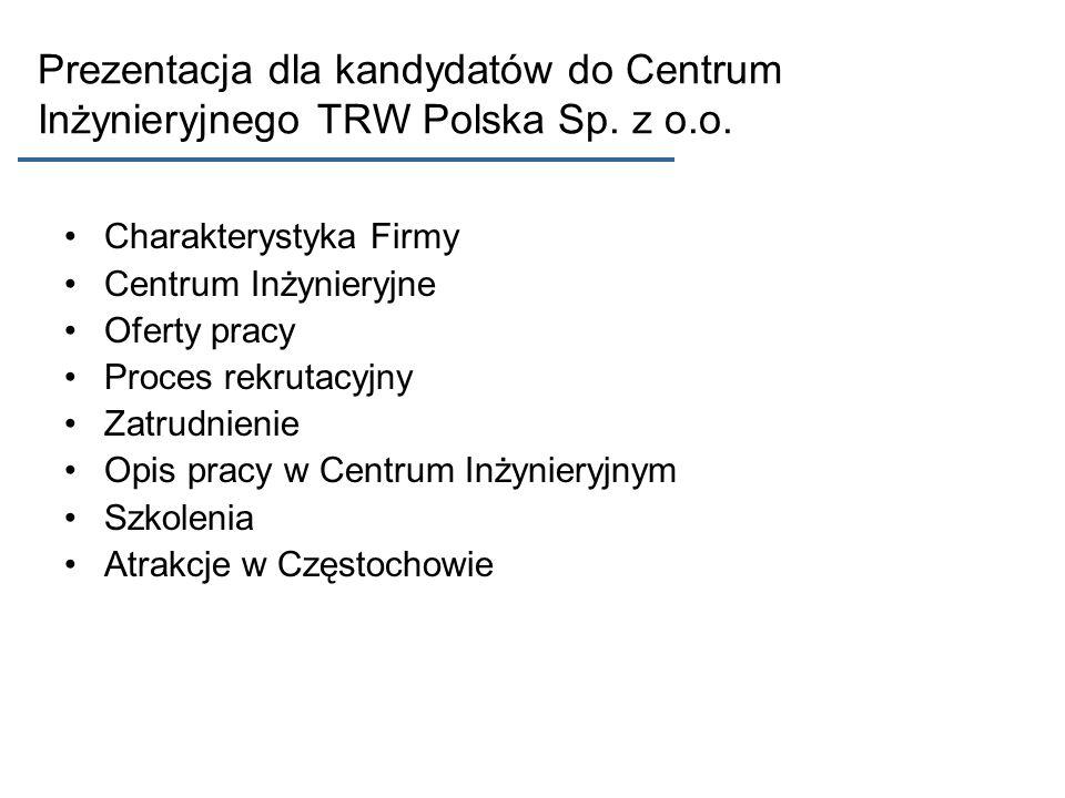 Prezentacja dla kandydatów do Centrum Inżynieryjnego TRW Polska Sp. z o.o. Charakterystyka Firmy Centrum Inżynieryjne Oferty pracy Proces rekrutacyjny