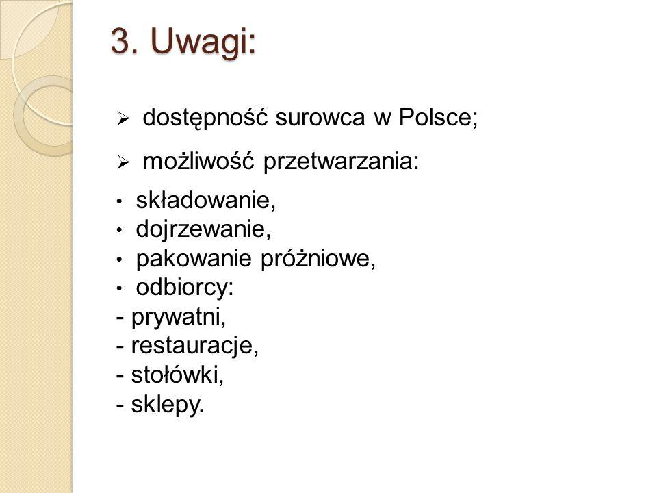 3. Uwagi: dostępność surowca w Polsce; możliwość przetwarzania: składowanie, dojrzewanie, pakowanie próżniowe, odbiorcy: - prywatni, - restauracje, -