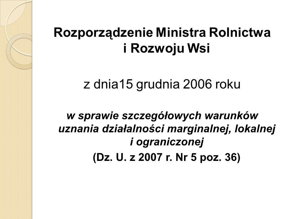 Rozporządzenie Ministra Rolnictwa i Rozwoju Wsi z dnia15 grudnia 2006 roku w sprawie szczegółowych warunków uznania działalności marginalnej, lokalnej