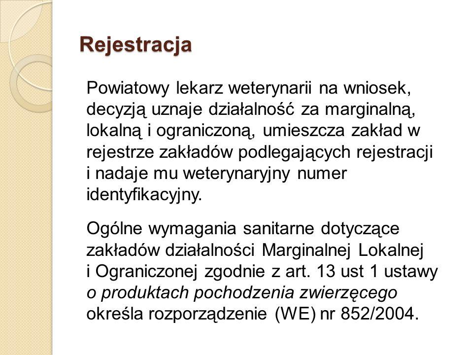 Rejestracja Powiatowy lekarz weterynarii na wniosek, decyzją uznaje działalność za marginalną, lokalną i ograniczoną, umieszcza zakład w rejestrze zak
