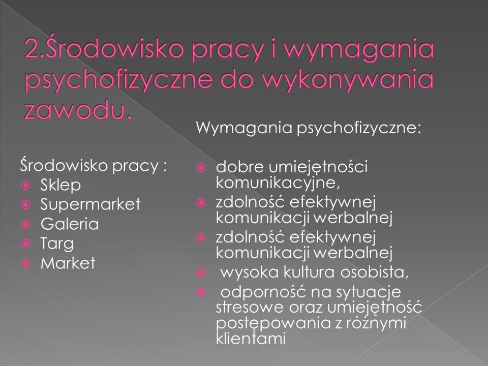 Środowisko pracy : Sklep Supermarket Galeria Targ Market Wymagania psychofizyczne: dobre umiejętności komunikacyjne, zdolność efektywnej komunikacji w
