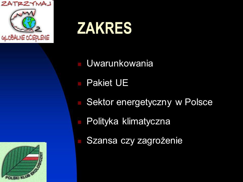 ZAKRES Uwarunkowania Pakiet UE Sektor energetyczny w Polsce Polityka klimatyczna Szansa czy zagrożenie