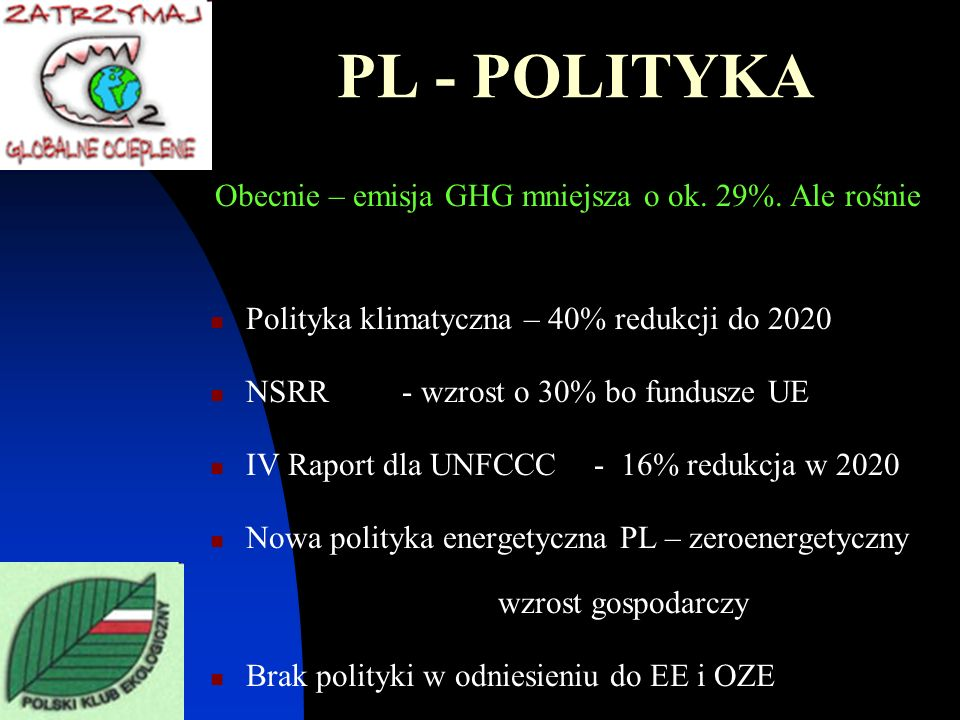 PL - POLITYKA Obecnie – emisja GHG mniejsza o ok. 29%. Ale rośnie Polityka klimatyczna – 40% redukcji do 2020 NSRR - wzrost o 30% bo fundusze UE IV Ra