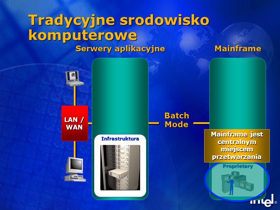 Batch Mode Dumb Terminal MainframeProprietary Tradycyjne srodowisko komputerowe Mainframe jest centralnym miejscem przetwarzania LAN / WAN Serwery aplikacyjne Infrastruktura