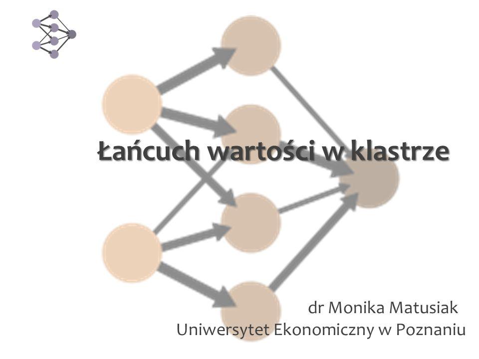 Łańcuch wartości w klastrze dr Monika Matusiak Uniwersytet Ekonomiczny w Poznaniu