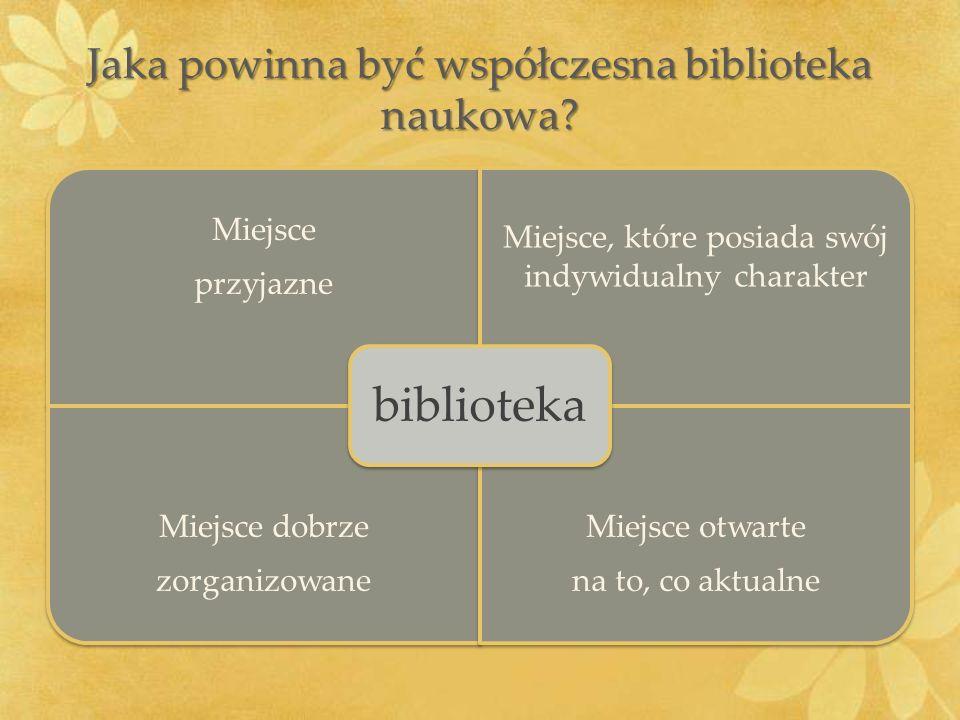 Jaka powinna być współczesna biblioteka naukowa? Miejsce przyjazne Miejsce, które posiada swój indywidualny charakter Miejsce dobrze zorganizowane Mie