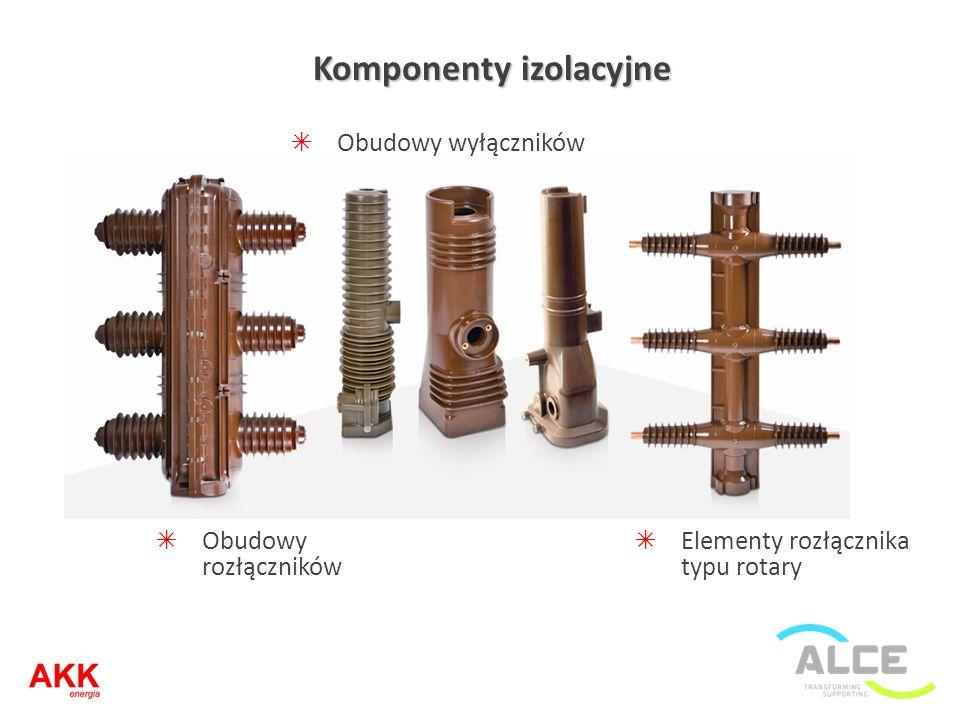 Komponenty izolacyjne Obudowy wyłączników Obudowy rozłączników Elementy rozłącznika typu rotary
