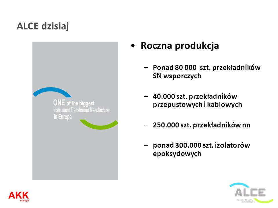 ALCE dzisiaj Roczna produkcja –Ponad 80 000 szt. przekładników SN wsporczych –40.000 szt. przekładników przepustowych i kablowych –250.000 szt. przekł