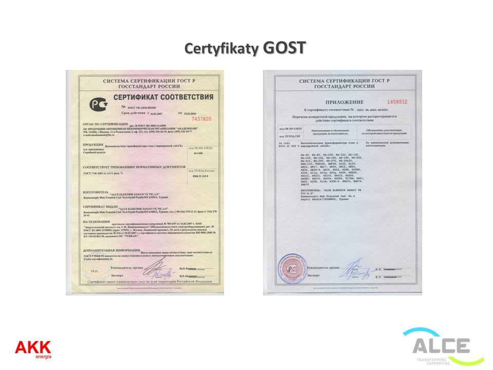 Certyfikaty GOST