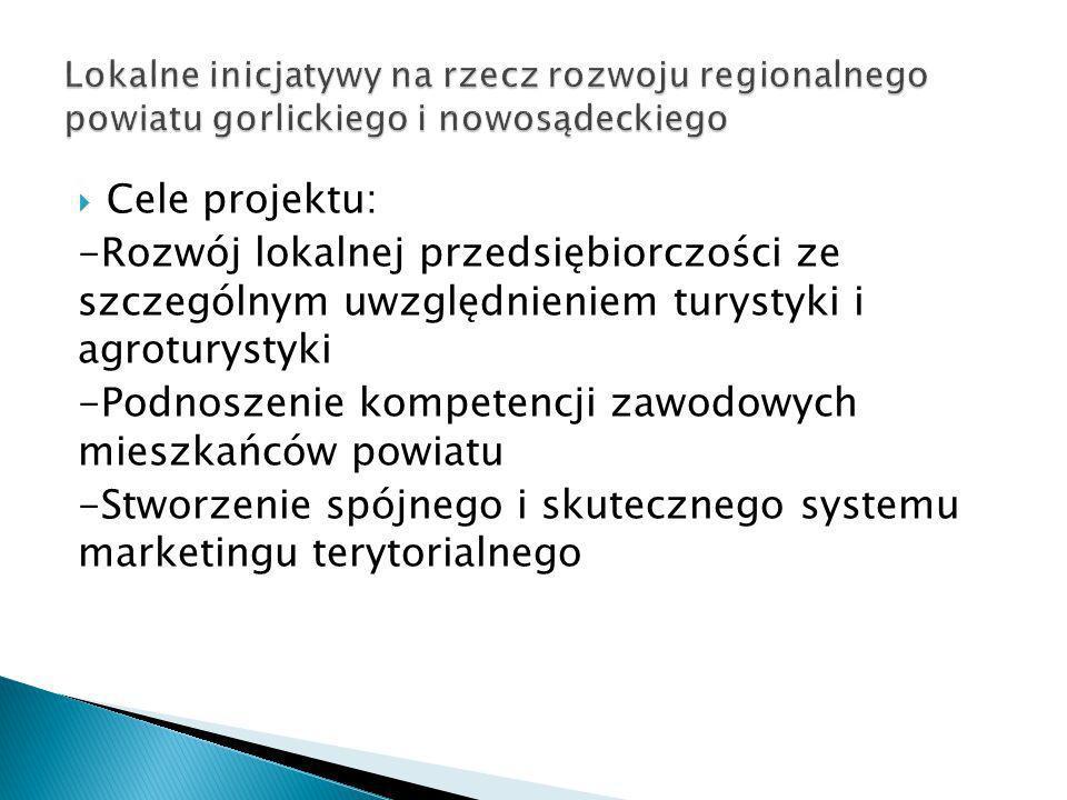 Cele projektu: -Rozwój lokalnej przedsiębiorczości ze szczególnym uwzględnieniem turystyki i agroturystyki -Podnoszenie kompetencji zawodowych mieszka