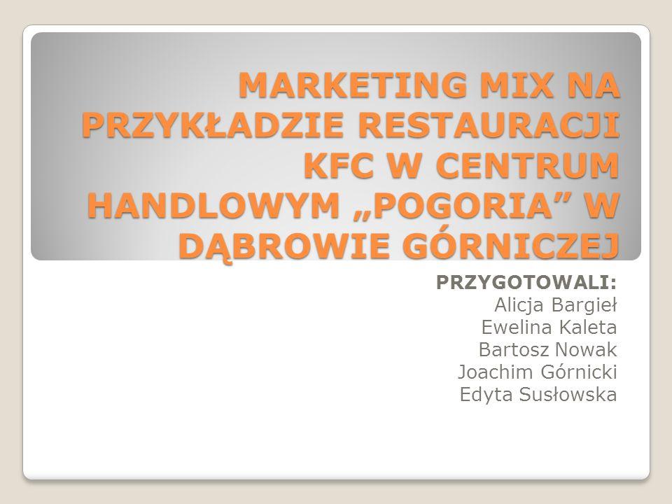 MARKETING MIX NA PRZYKŁADZIE RESTAURACJI KFC W CENTRUM HANDLOWYM POGORIA W DĄBROWIE GÓRNICZEJ PRZYGOTOWALI: Alicja Bargieł Ewelina Kaleta Bartosz Nowa