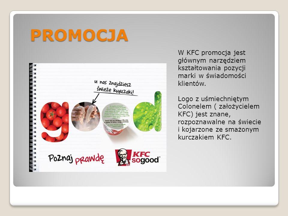 PROMOCJA W KFC promocja jest głównym narzędziem kształtowania pozycji marki w świadomości klientów. Logo z uśmiechniętym Colonelem ( założycielem KFC)