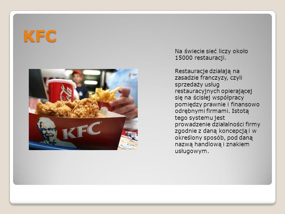KFC Na świecie sieć liczy około 15000 restauracji. Restauracje działają na zasadzie franczyzy, czyli sprzedaży usług restauracyjnych opierającej się n