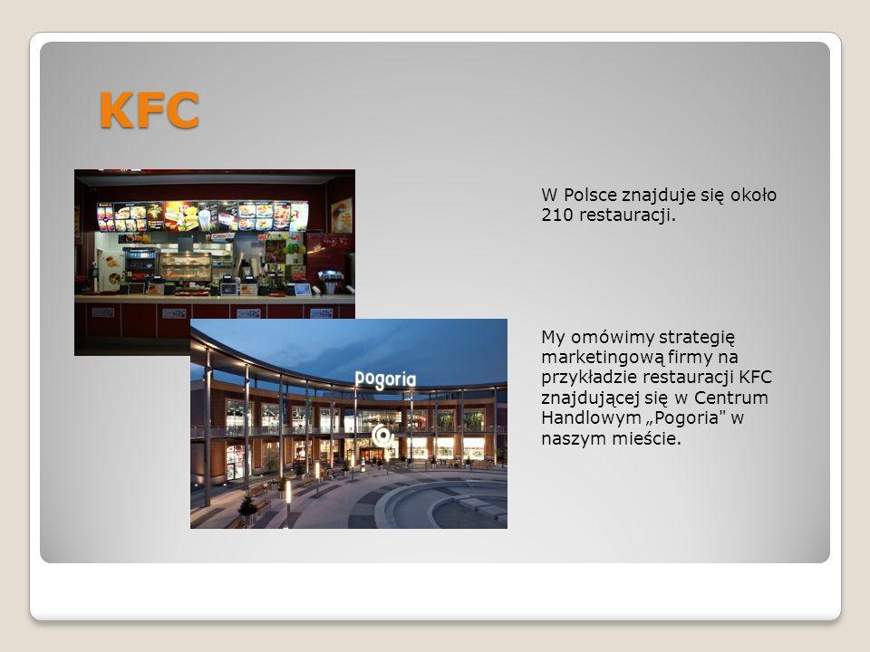 CENA Strategia cenowa firmy polega na tym, iż najpierw cena nowo oferowanego produktu jest stosunkowo wysoka, a następnie firma stopniowo obniża cenę, aby zachęcić klientów o niższym zasobie gotówki do konsumpcji w restauracjach KFC.