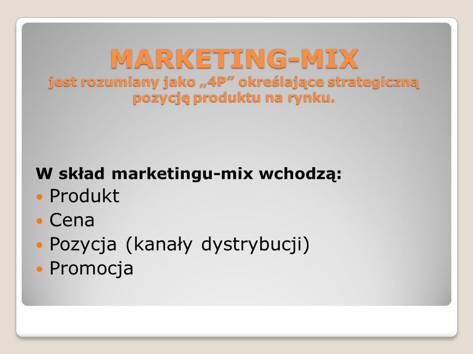 MARKETING-MIX jest rozumiany jako 4P określające strategiczną pozycję produktu na rynku. W skład marketingu-mix wchodzą: Produkt Cena Pozycja (kanały