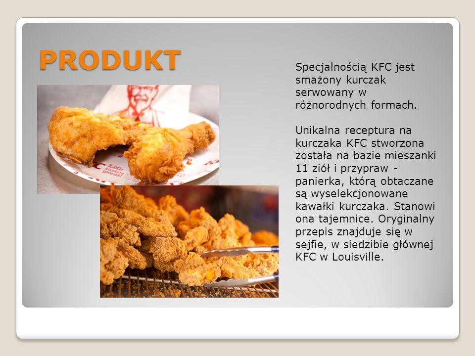 PRODUKT Specjalnością KFC jest smażony kurczak serwowany w różnorodnych formach. Unikalna receptura na kurczaka KFC stworzona została na bazie mieszan