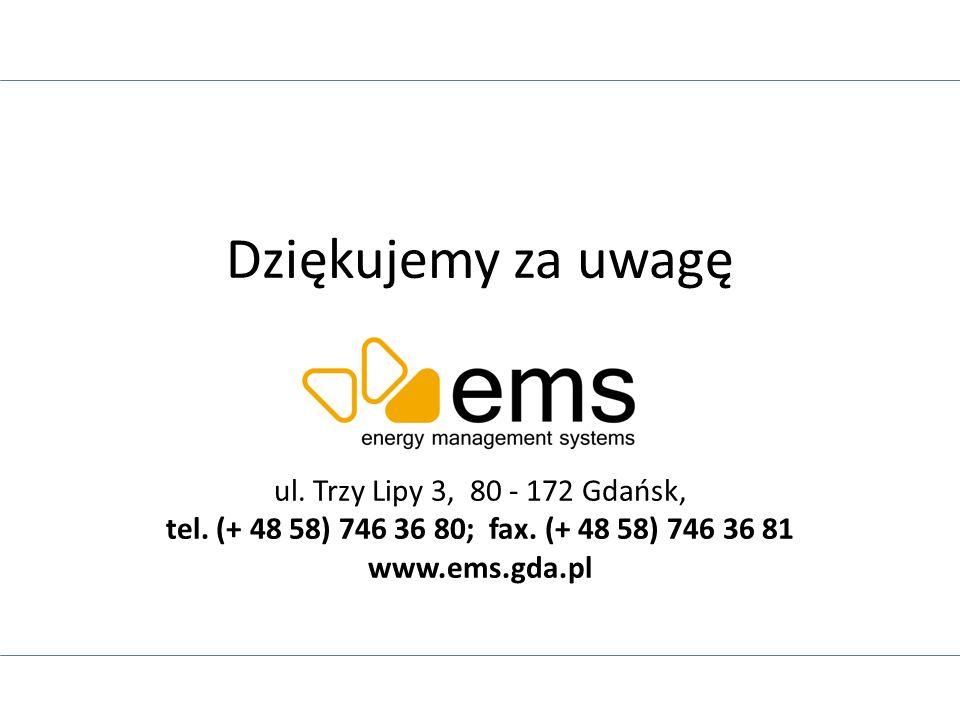 Dziękujemy za uwagę ul. Trzy Lipy 3, 80 - 172 Gdańsk, tel. (+ 48 58) 746 36 80; fax. (+ 48 58) 746 36 81 www.ems.gda.pl