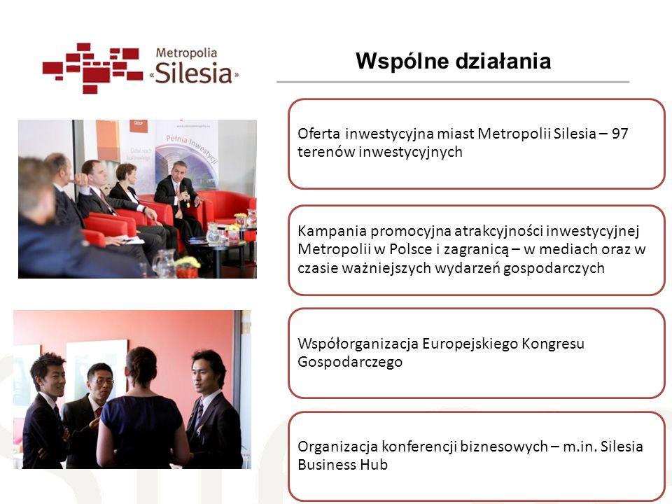 Wspólne działania Oferta inwestycyjna miast Metropolii Silesia – 97 terenów inwestycyjnych Kampania promocyjna atrakcyjności inwestycyjnej Metropolii