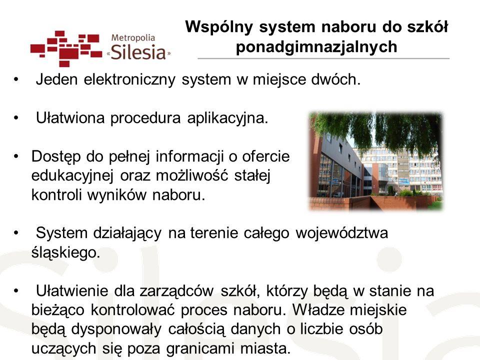 Wspólny system naboru do szkół ponadgimnazjalnych Jeden elektroniczny system w miejsce dwóch. Ułatwiona procedura aplikacyjna. Dostęp do pełnej inform