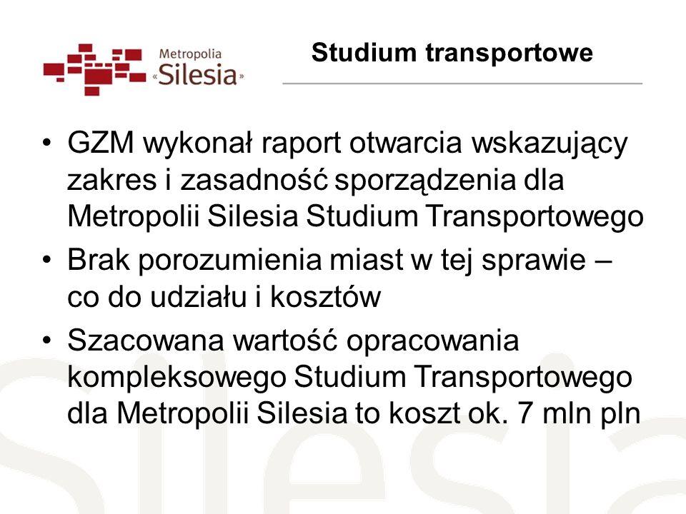 GZM wykonał raport otwarcia wskazujący zakres i zasadność sporządzenia dla Metropolii Silesia Studium Transportowego Brak porozumienia miast w tej spr