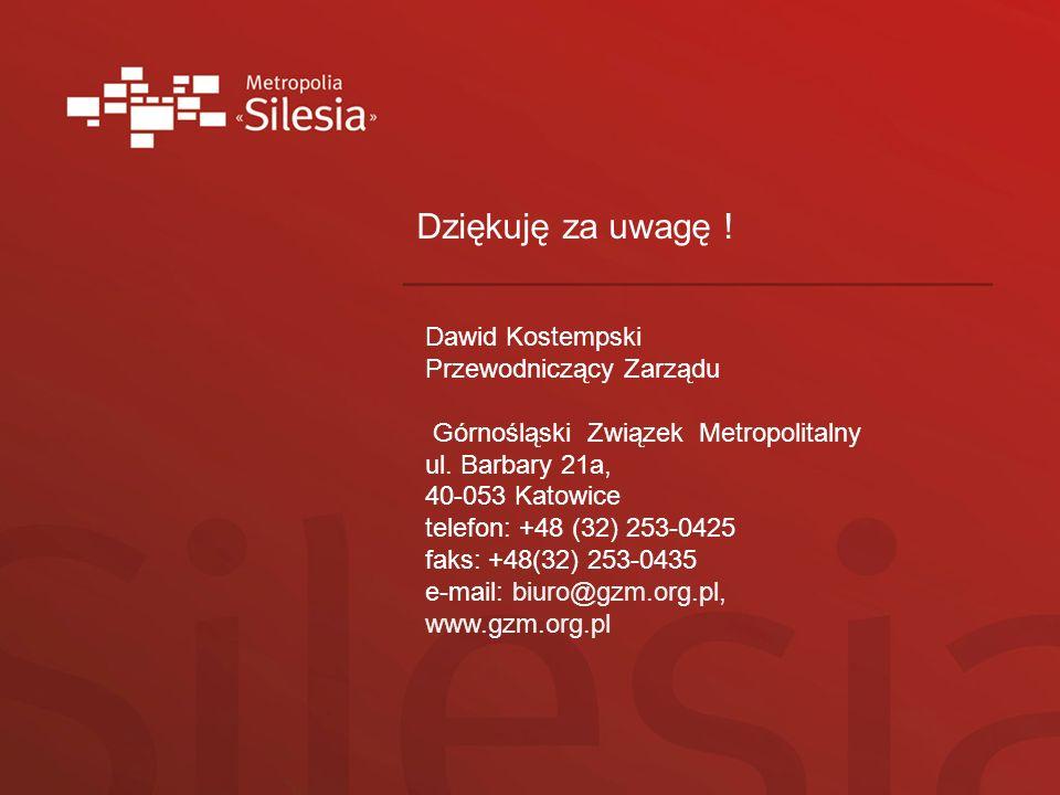 Dziękuję za uwagę ! Dawid Kostempski Przewodniczący Zarządu Górnośląski Związek Metropolitalny ul. Barbary 21a, 40-053 Katowice telefon: +48 (32) 253-