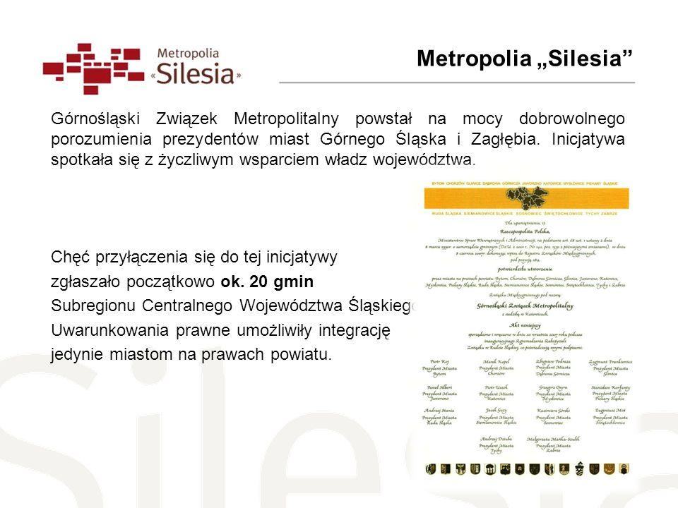 Metropolia Silesia Górnośląski Związek Metropolitalny powstał na mocy dobrowolnego porozumienia prezydentów miast Górnego Śląska i Zagłębia. Inicjatyw