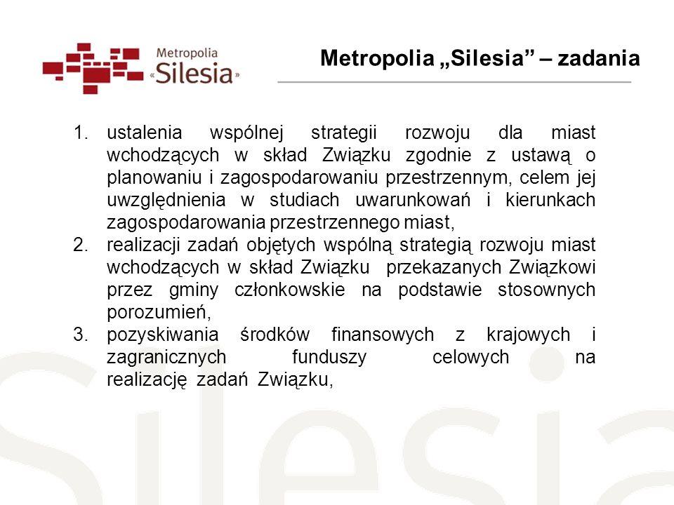 Metropolia Silesia – zadania 1.ustalenia wspólnej strategii rozwoju dla miast wchodzących w skład Związku zgodnie z ustawą o planowaniu i zagospodarow