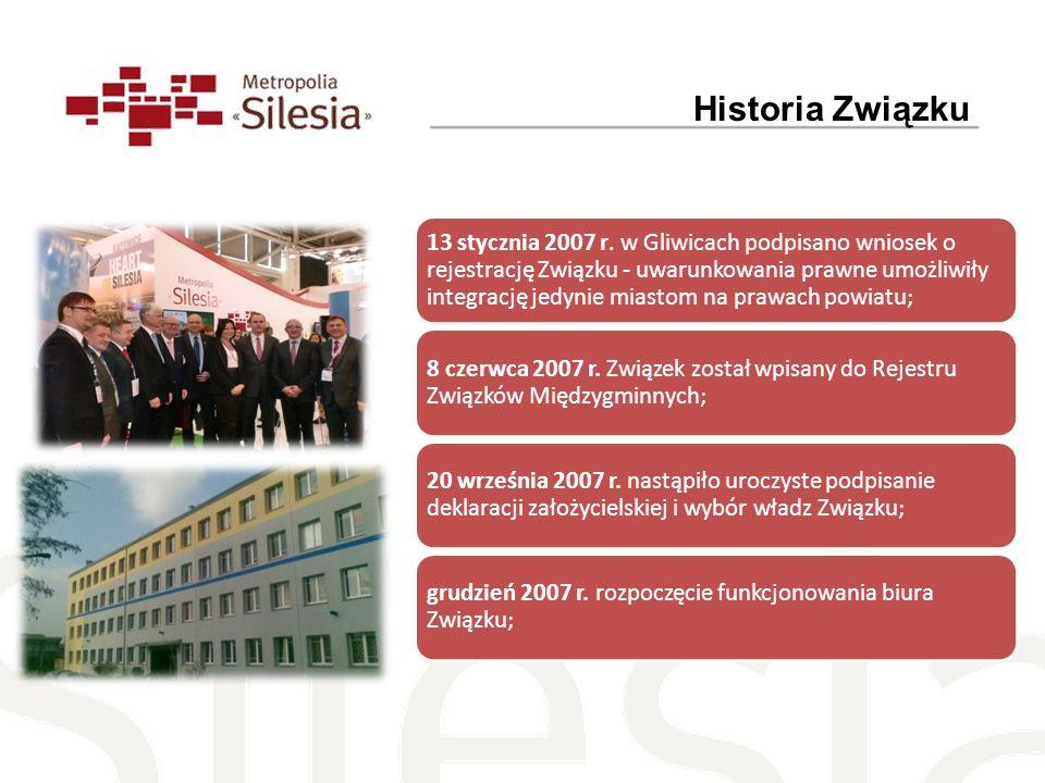 13 stycznia 2007 r. w Gliwicach podpisano wniosek o rejestrację Związku - uwarunkowania prawne umożliwiły integrację jedynie miastom na prawach powiat