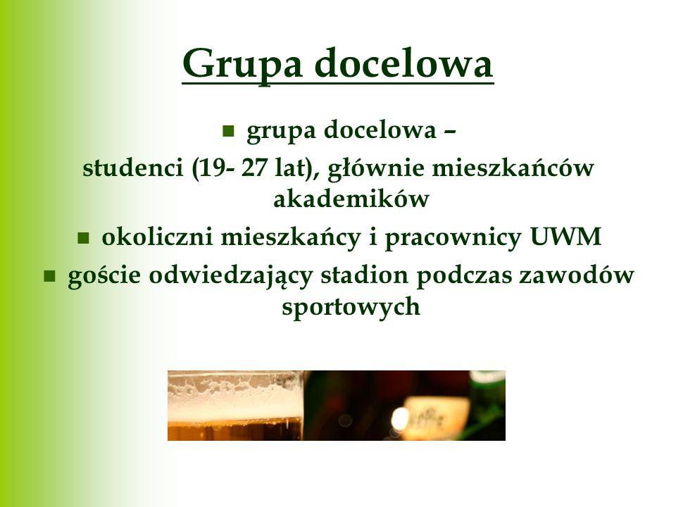 Grupa docelowa grupa docelowa – studenci (19- 27 lat), głównie mieszkańców akademików okoliczni mieszkańcy i pracownicy UWM goście odwiedzający stadio