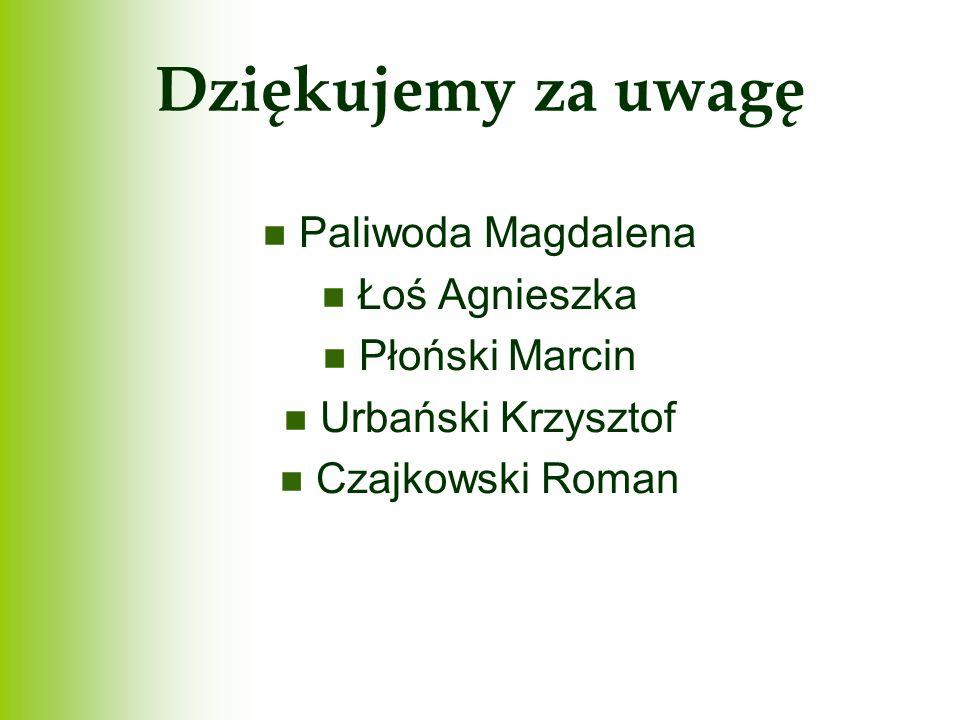 Dziękujemy za uwagę Paliwoda Magdalena Łoś Agnieszka Płoński Marcin Urbański Krzysztof Czajkowski Roman