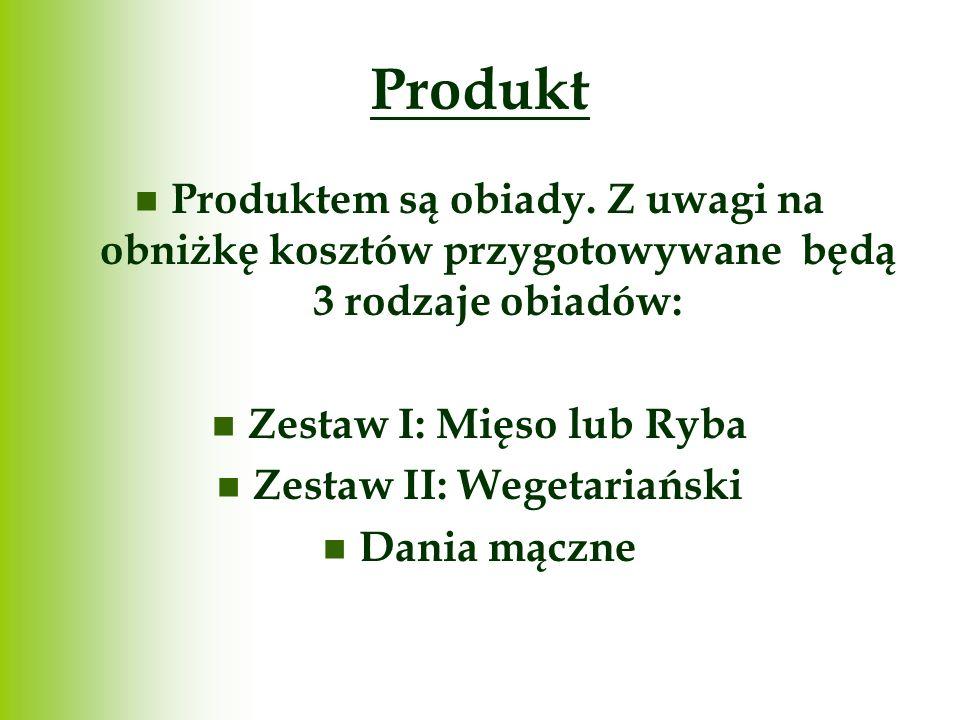 Produkt Produktem są obiady. Z uwagi na obniżkę kosztów przygotowywane będą 3 rodzaje obiadów: Zestaw I: Mięso lub Ryba Zestaw II: Wegetariański Dania
