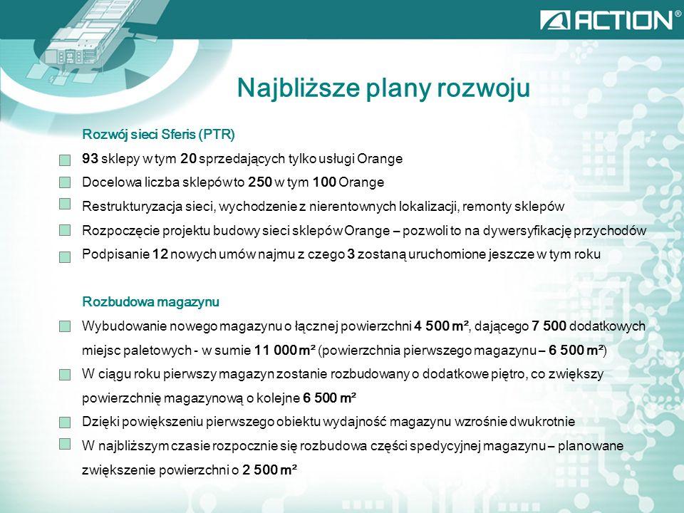 Najbliższe plany rozwoju Rozwój sieci Sferis (PTR) 93 sklepy w tym 20 sprzedających tylko usługi Orange Docelowa liczba sklepów to 250 w tym 100 Orange Restrukturyzacja sieci, wychodzenie z nierentownych lokalizacji, remonty sklepów Rozpoczęcie projektu budowy sieci sklepów Orange – pozwoli to na dywersyfikację przychodów Podpisanie 12 nowych umów najmu z czego 3 zostaną uruchomione jeszcze w tym roku Rozbudowa magazynu Wybudowanie nowego magazynu o łącznej powierzchni 4 500 m², dającego 7 500 dodatkowych miejsc paletowych - w sumie 11 000 m² (powierzchnia pierwszego magazynu – 6 500 m²) W ciągu roku pierwszy magazyn zostanie rozbudowany o dodatkowe piętro, co zwiększy powierzchnię magazynową o kolejne 6 500 m² Dzięki powiększeniu pierwszego obiektu wydajność magazynu wzrośnie dwukrotnie W najbliższym czasie rozpocznie się rozbudowa części spedycyjnej magazynu – planowane zwiększenie powierzchni o 2 500 m²