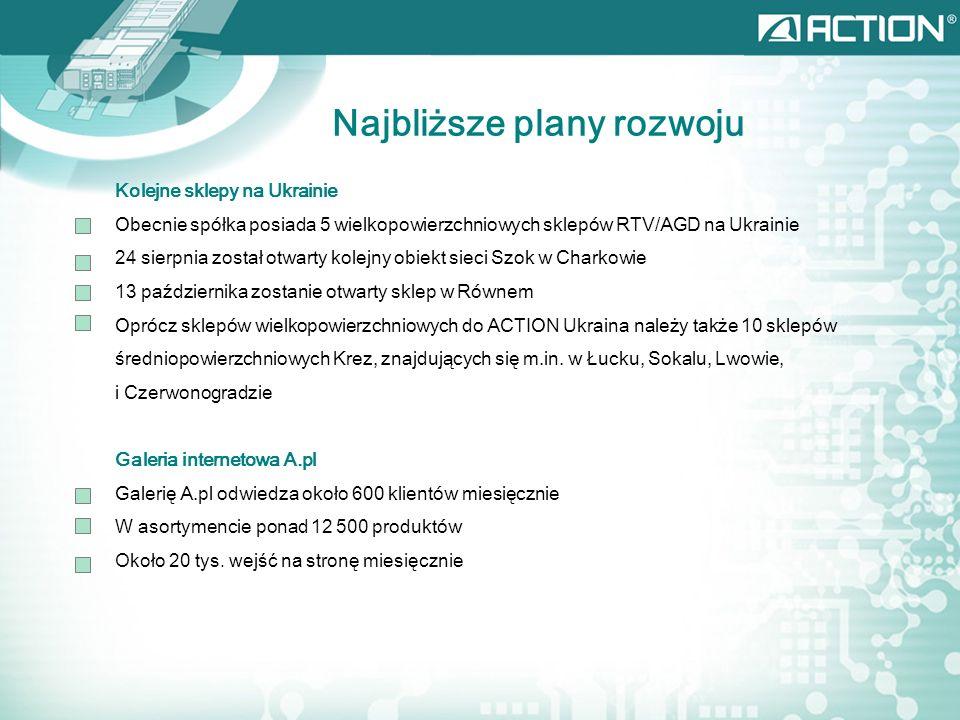 Najbliższe plany rozwoju Kolejne sklepy na Ukrainie Obecnie spółka posiada 5 wielkopowierzchniowych sklepów RTV/AGD na Ukrainie 24 sierpnia został otwarty kolejny obiekt sieci Szok w Charkowie 13 października zostanie otwarty sklep w Równem Oprócz sklepów wielkopowierzchniowych do ACTION Ukraina należy także 10 sklepów średniopowierzchniowych Krez, znajdujących się m.in.