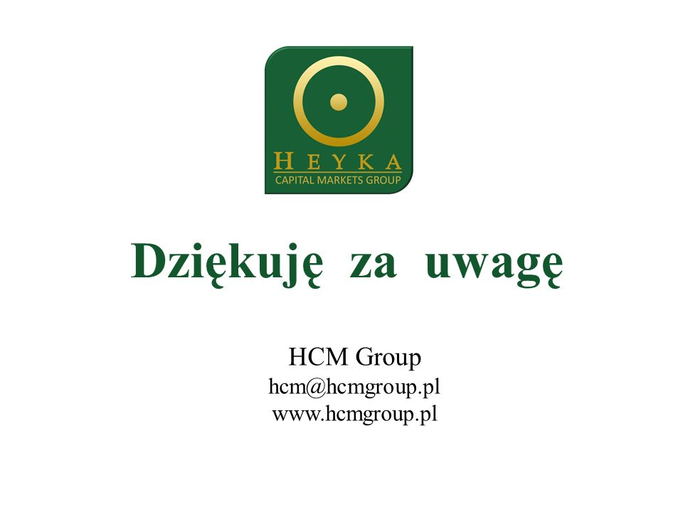 Dziękuję za uwagę HCM Group hcm@hcmgroup.pl www.hcmgroup.pl
