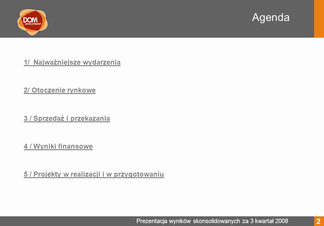 Prezentacja wyników skonsolidowanych za 3 kwartał 2008 Ewa Plichta Investor Relations Manager Tel.: +48 22 351 68 49 email: ewa.plichta@domdevelopment.com.plewa.plichta@domdevelopment.com.pl Dom Development S.A.