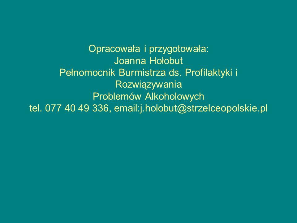 Opracowała i przygotowała: Joanna Hołobut Pełnomocnik Burmistrza ds. Profilaktyki i Rozwiązywania Problemów Alkoholowych tel. 077 40 49 336, email:j.h