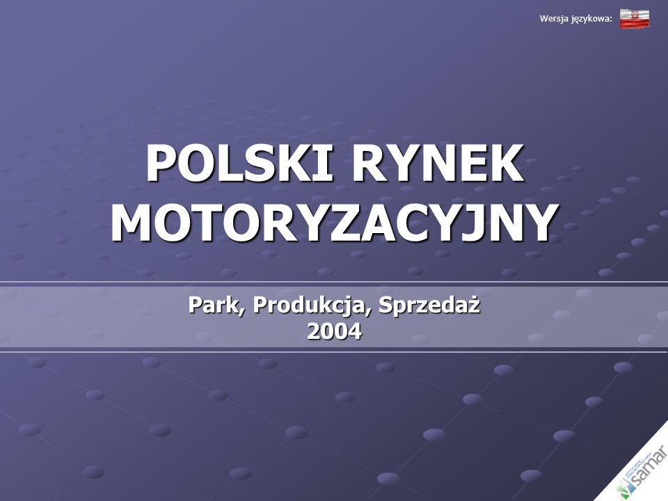 P OLSKI RYNEK MOTORYZACYJNY Produkcja Samochodów Osobowych i Dostawczych (2003 – 2004) Źródło: IBRM SAMAR, Fiat, FSO, Intrall, Opel, Volkswagen Wersja językowa: Całkowita produkcja samochodów osobowych i dostawczych w Polsce w roku 2004 wyniosła 591 892 samochody W porównaniu do roku 2003 zwiększyła się ona o 64,82% Jedną z przyczyn zanotowanego wzrostu jest uruchomienie produkcji Fiata Pandy, Opla Astry, VW Caddy oraz najnowszej wersji VW Transportera