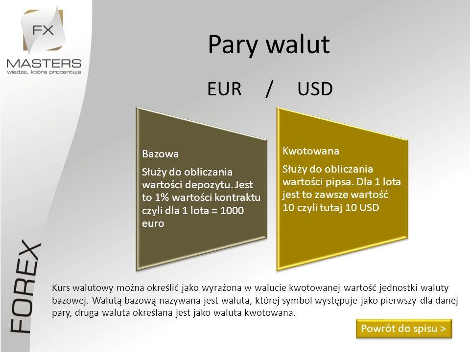 Pary walut Kurs walutowy można określić jako wyrażona w walucie kwotowanej wartość jednostki waluty bazowej. Walutą bazową nazywana jest waluta, które