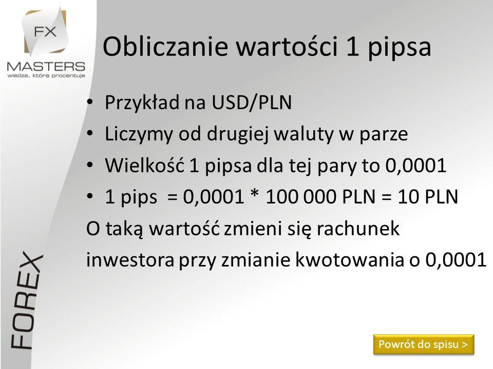 Obliczanie wartości 1 pipsa Przykład na USD/PLN Liczymy od drugiej waluty w parze Wielkość 1 pipsa dla tej pary to 0,0001 1 pips = 0,0001 * 100 000 PL
