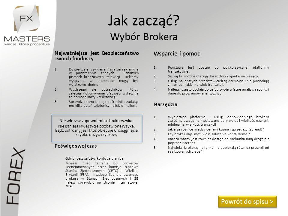 Jak zacząć? Wybór Brokera Najważniejsze jest Bezpieczeństwo Twoich funduszy 1.Dowiedz się, czy dana firma się reklamuje w powszechnie znanych i uznany