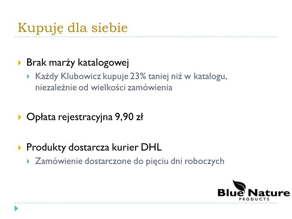 Kupuję dla siebie Brak marży katalogowej Każdy Klubowicz kupuje 23% taniej niż w katalogu, niezależnie od wielkości zamówienia Opłata rejestracyjna 9,90 zł Produkty dostarcza kurier DHL Zamówienie dostarczone do pięciu dni roboczych