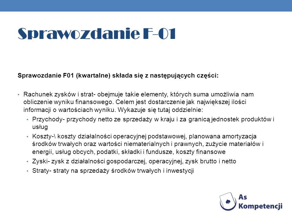 Sprawozdanie F-01 Sprawozdanie F01 (kwartalne) składa się z następujących części: Rachunek zysków i strat- obejmuje takie elementy, których suma umożliwia nam obliczenie wyniku finansowego.