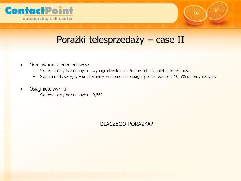 Porażki telesprzedaży – case II Oczekiwania Zleceniodawcy: –Skuteczność / baza danych – wynagrodzenie uzależnione od osiągniętej skuteczności, –System