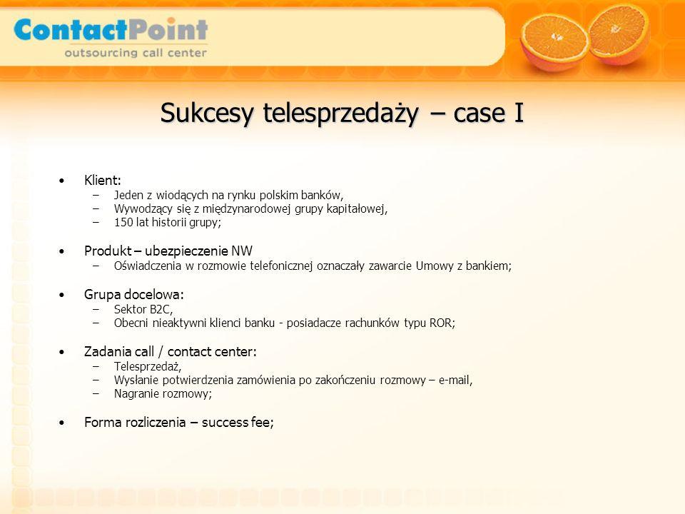 Sukcesy telesprzedaży – case I Klient: –Jeden z wiodących na rynku polskim banków, –Wywodzący się z międzynarodowej grupy kapitałowej, –150 lat histor